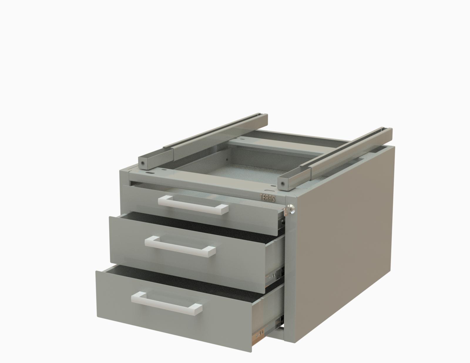 Подвесная тумба с тремя ящиками с уменьшенной глубиной